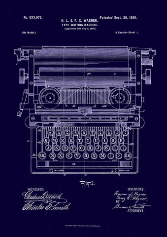 TYPEWRITER PATENT PRINT: Invention Blueprint Artwork