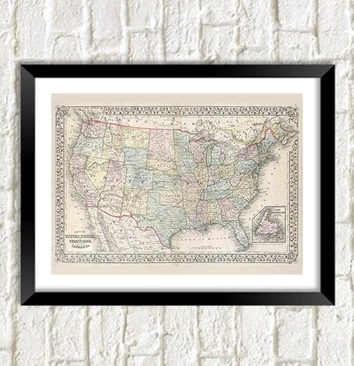 AMERICA MAP: Vintage USA Atlas Art Print