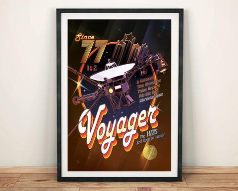 VOYAGER MISSION POSTER: Disco Theme Spacecraft Art - The Print Arcade