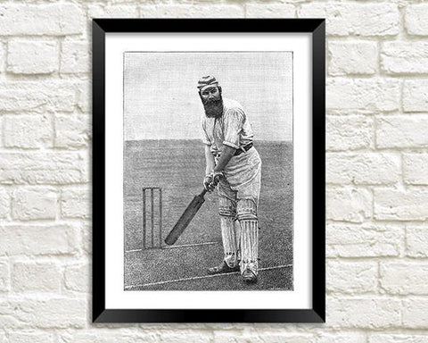 W.G. GRACE PRINT: Vintage Cricket Art Illustration