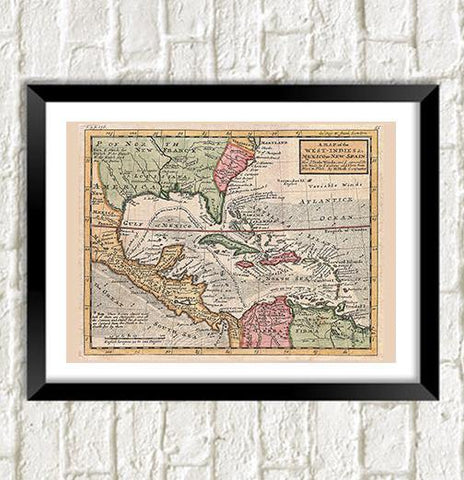 WEST INDIES MAP: Vintage Caribbean Atlas Art Print