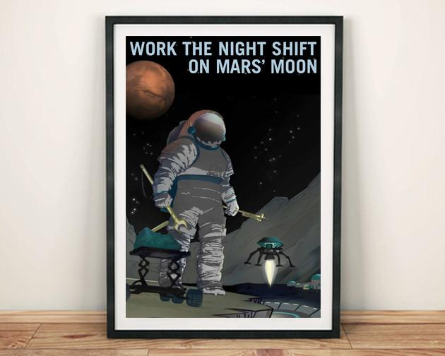 WORK THE NIGHT SHIFT: NASA Space Explorers Poster - The Print Arcade