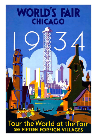 WORLD'S FAIR 1934 POSTER: Vintage Blue Chicago Travel Advert - The Print Arcade