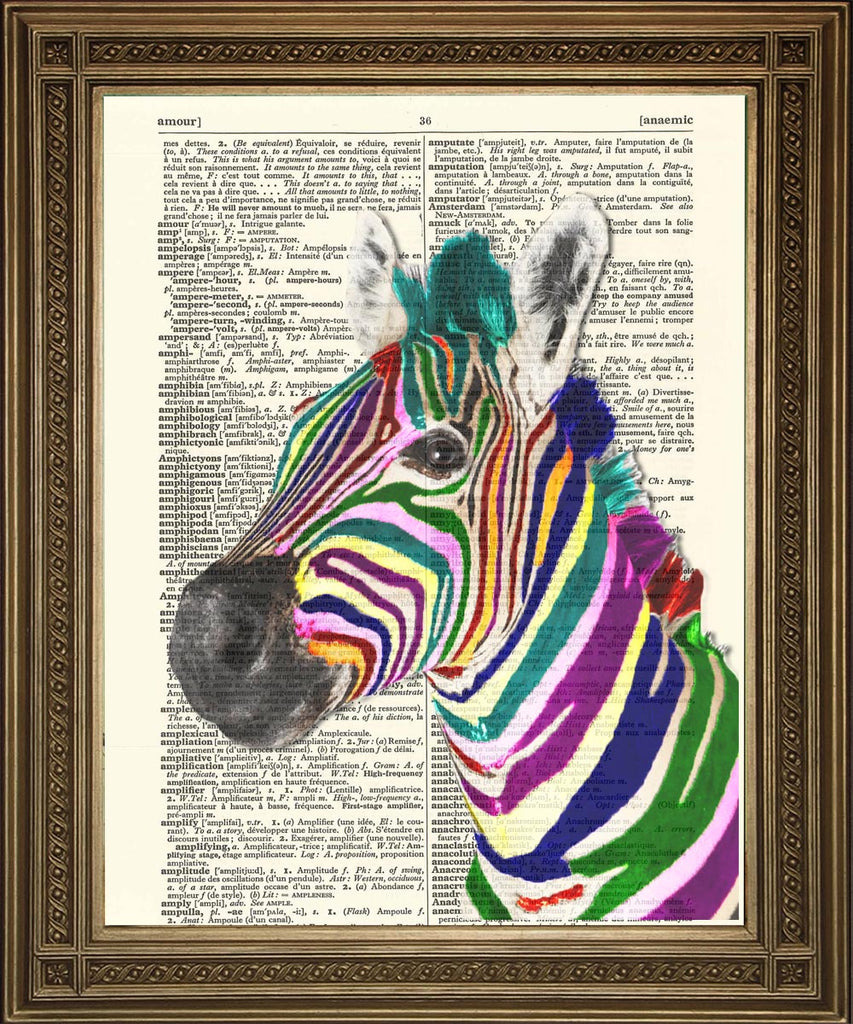 ZEBRA PRINT: Rainbow or Black and White Vintage Dictionary Art