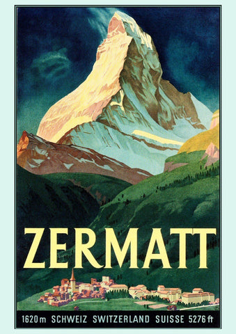 ZERMATT TRAVEL POSTER: Vintage Mountain Print - The Print Arcade