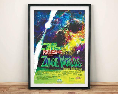 ZOMBIE WORLDS POSTER: NASA Undead Star Space Print
