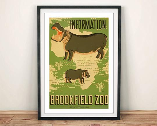 BROOKFIELD ZOO POSTER: Hippo Animal Advert - The Print Arcade