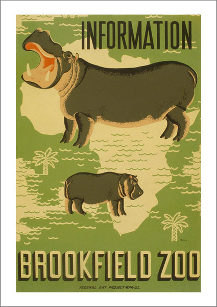 BROOKFIELD ZOO POSTER: Hippo Animal Advert