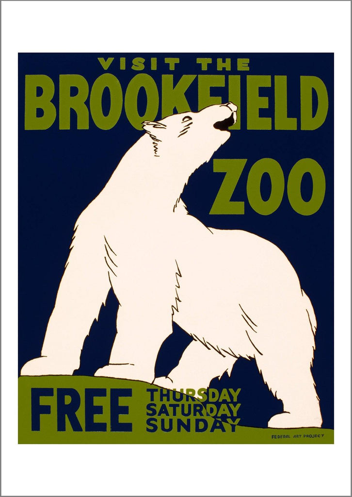 BROOKFIELD ZOO POSTER: Polar Bear Animal Advert - The Print Arcade