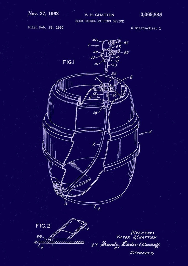 BEER BARREL PATENT: Blueprint Artwork Print - The Print Arcade