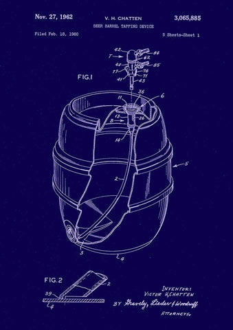 BEER BARREL PATENT: Blueprint Artwork Print