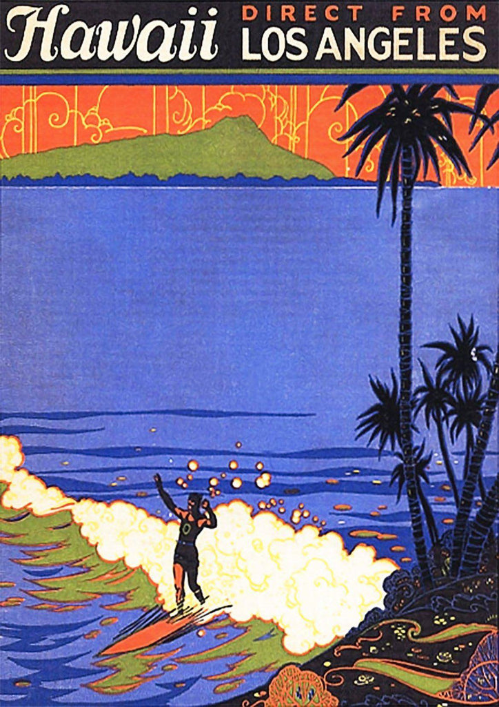 HAWAII SURFING POSTER: Vintage Blue Sea Travel Advert - The Print Arcade