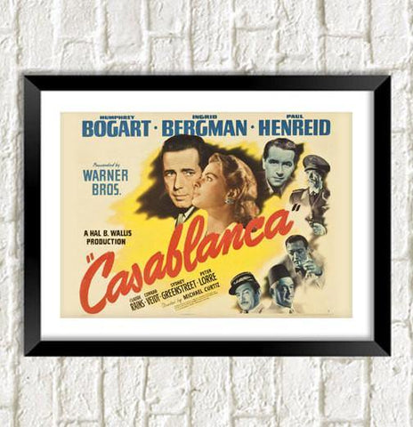 CASABLANCA MOVIE POSTER: Classic Bogart Film Art Reprint