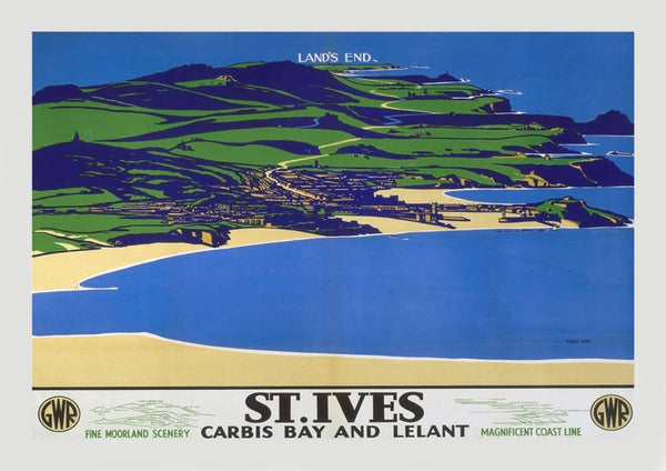 ST IVES POSTER: Vintage Cornwall Beach Print - The Print Arcade