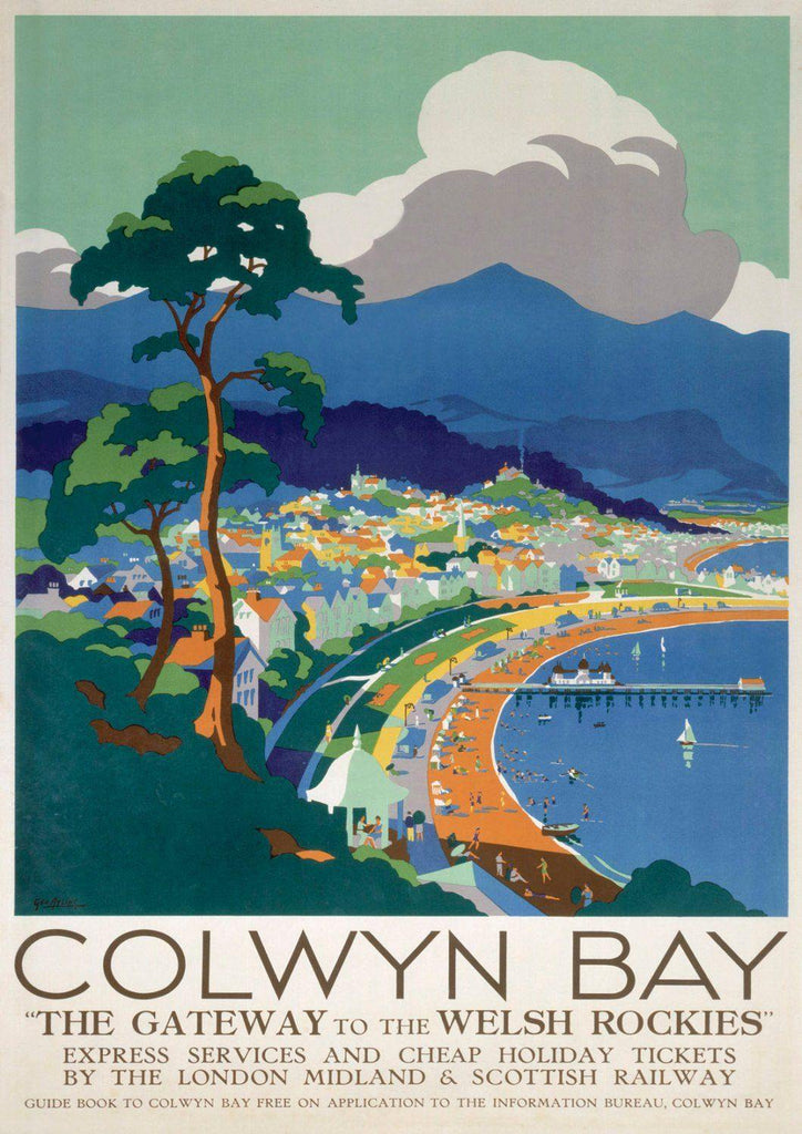 COLWYN BAY POSTER: Vintage Wales Beach Travel Advert - The Print Arcade