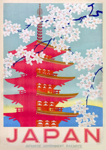 JAPANESE TEMPLE POSTER: Pink Japan Cherry Blossom Print