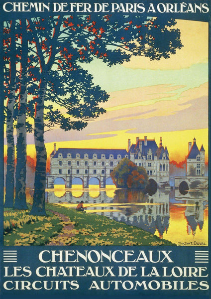 CHENONCEAUX CHATEAU POSTER: Vintage French Castle Travel Advert
