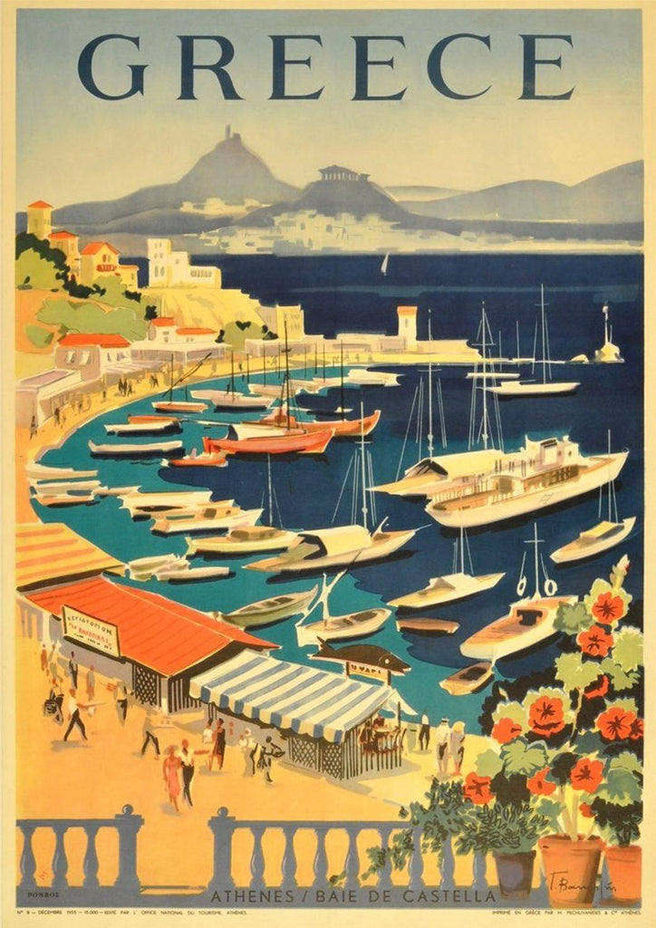 GREECE TOURISM POSTER: Vintage Greek Athens Bay Travel Advert Print