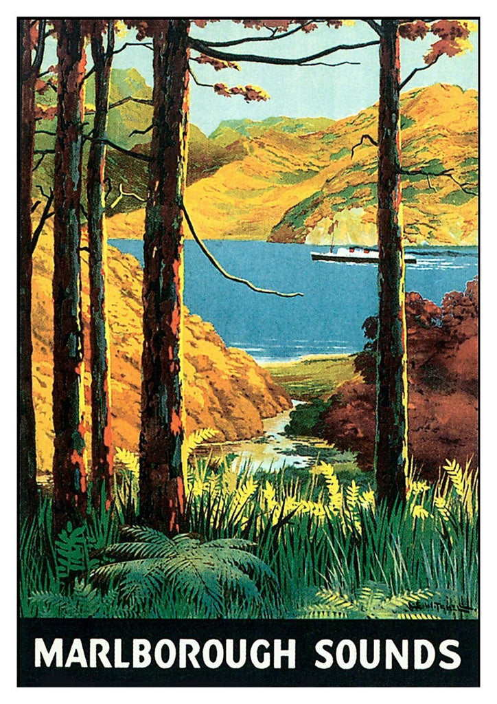 MARLBOROUGH SOUNDS POSTER: New Zealand Travel Advert - The Print Arcade