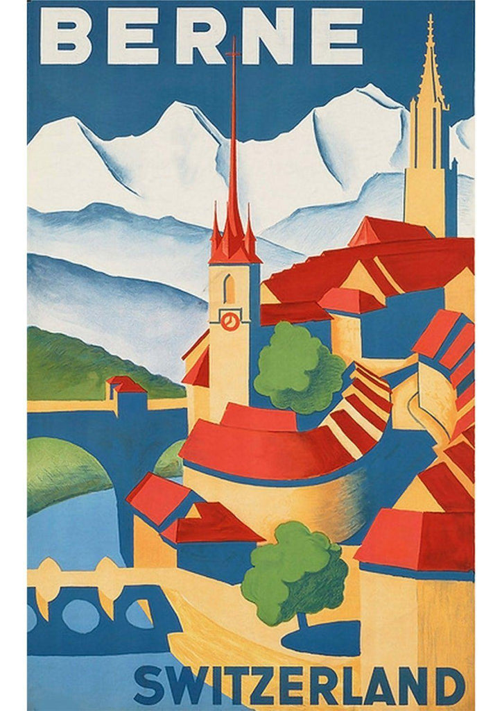 BERNE SWITZERLAND POSTER: Vintage Swiss Travel Advert - The Print Arcade