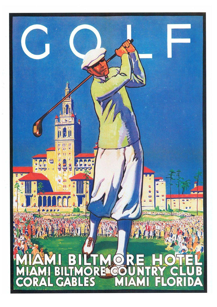 GOLF POSTER: Vintage Golfer Advert, Miami Biltmore Country club Advert