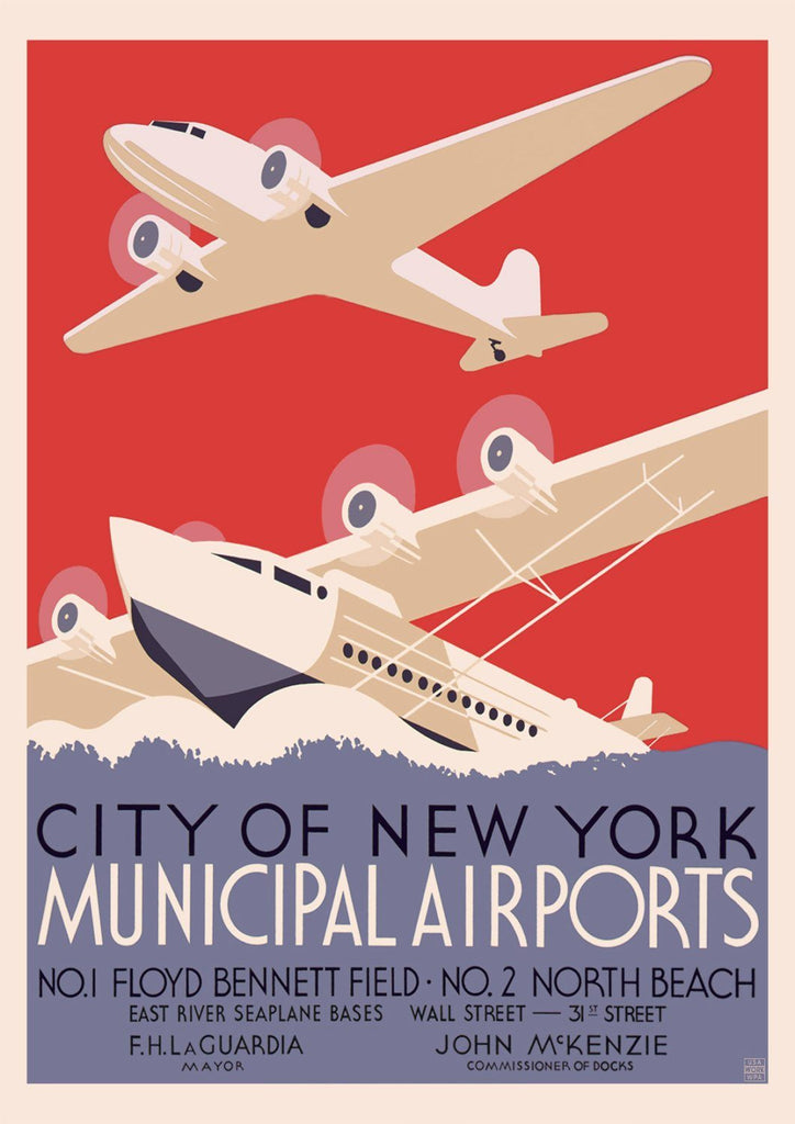NEW YORK POSTER: Vintage Airports Print - The Print Arcade
