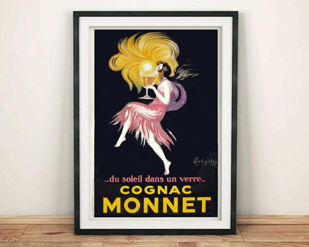 COGNAC POSTER: Vintage French Monnet Brandy Advert - The Print Arcade