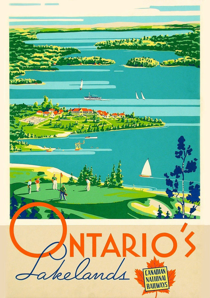 ONTARIO'S LAKES POSTER: Vintage Canadian Travel Advert - The Print Arcade