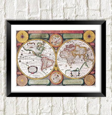 VINTAGE MAP PRINT: World Atlas Art Illustration - The Print Arcade
