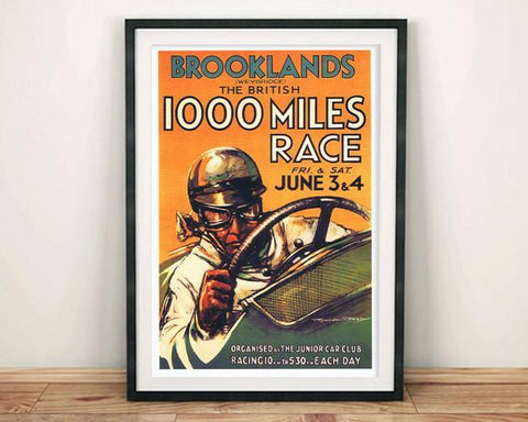 BROOKLANDS RACE POSTER: Vintage Motor Racing '1000 Miles' Advert Print - The Print Arcade