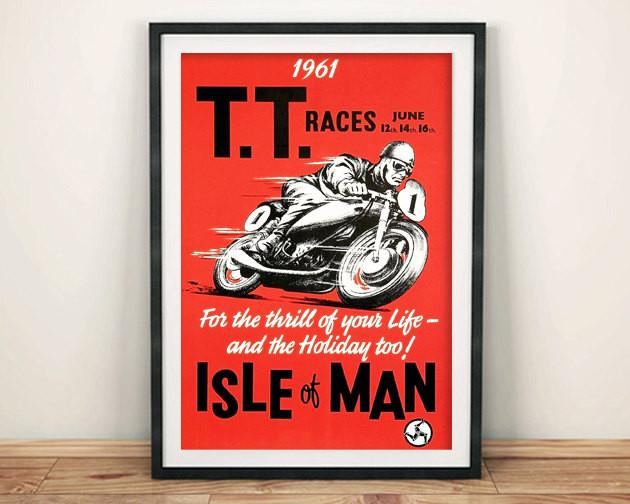 TT RACE POSTER: Vintage Isle of Mann Bike Race Advert - The Print Arcade