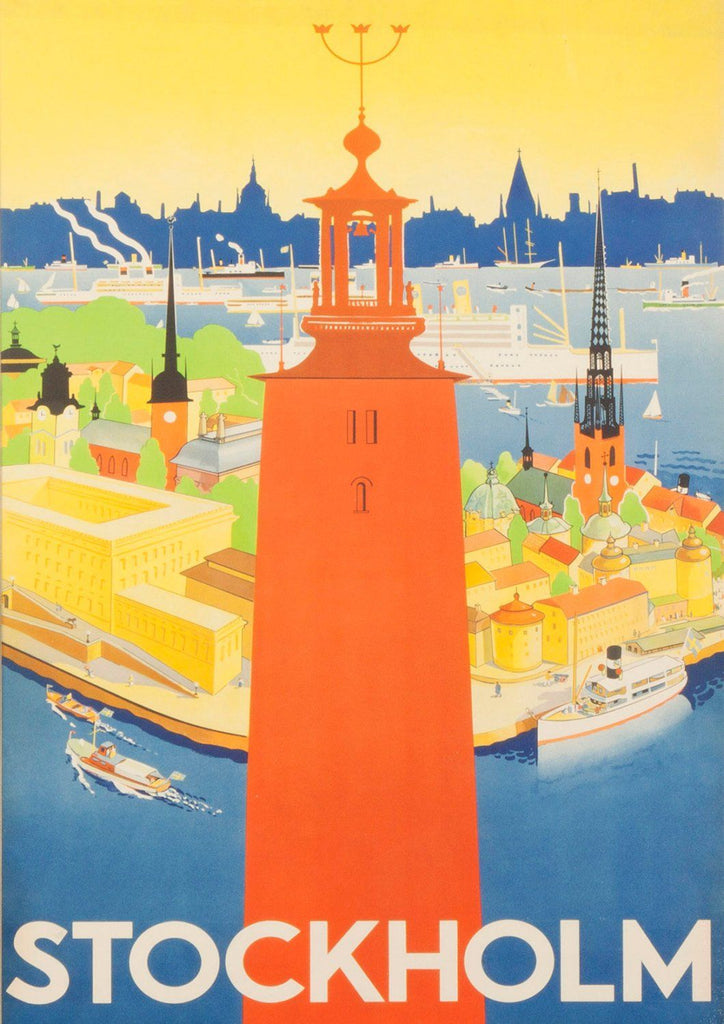 STOCKHOLM TRAVEL POSTER: Vintage Sweden Travel Print - The Print Arcade