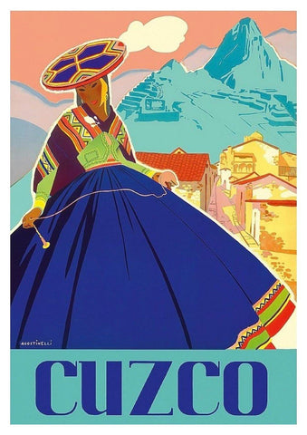 CUZCO TRAVEL POSTER: Vintage Peru Travel Advert - The Print Arcade