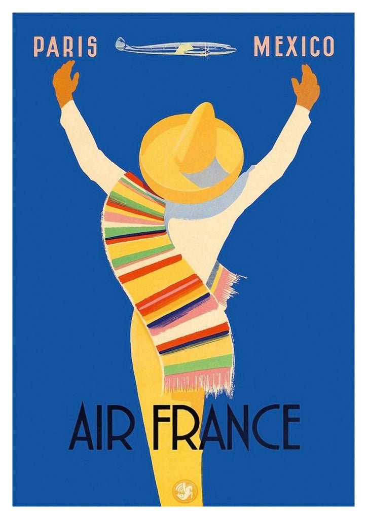 MEXICAN TRAVEL POSTER: Vintage Airline Paris Mexico Advert - The Print Arcade