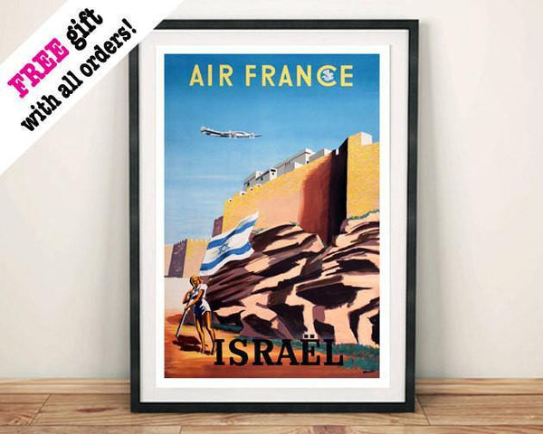 ISRAEL TOURISM POSTER: Vintage Israeli Flag Travel Advert - The Print Arcade