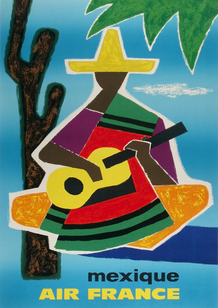 MEXICAN TRAVEL POSTER: Vintage Cubism Airline Advert - The Print Arcade