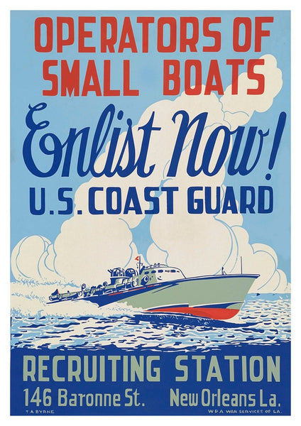 SMALL BOATS POSTER: Coast Guard Recruitment Advert - The Print Arcade
