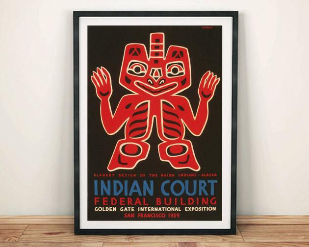 INDIAN ART POSTER: Haida Blanket Design Exposition Advert Reprint - The Print Arcade