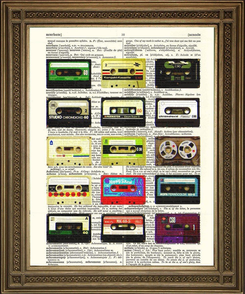 CASSETTE TAPES PRINT: Vintage Music Dictionary Page Art - The Print Arcade