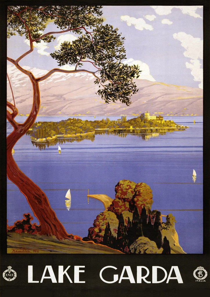 LAKE GARDA POSTER: Vintage Italian Lake Travel Advert