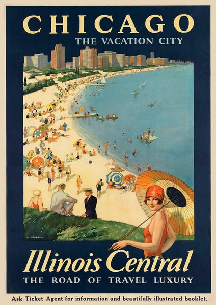 CHICAGO ILLINOIS POSTER: Vintage Travel Advert