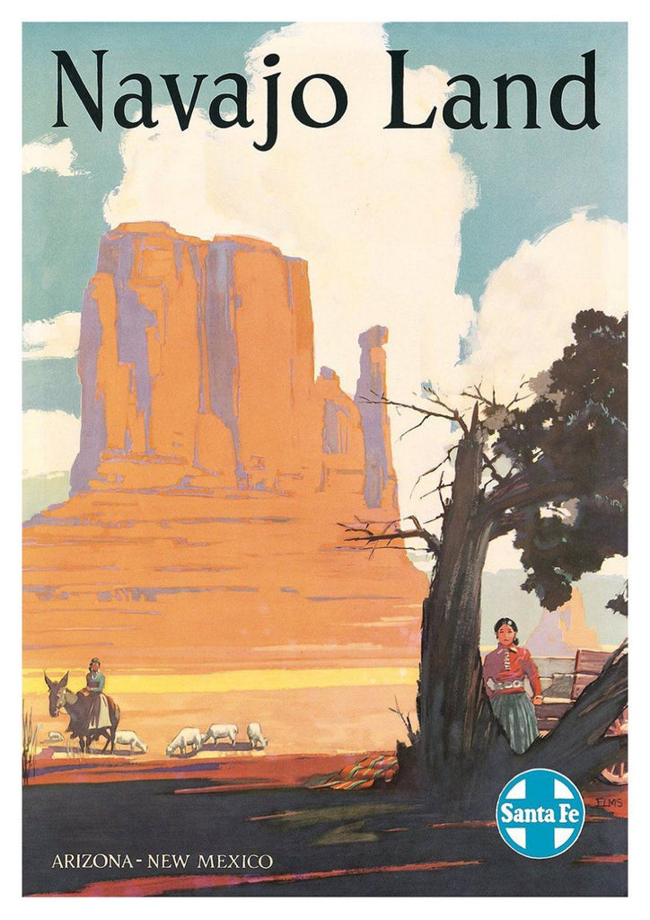 NAVAJO LAND POSTER: Vintage Native American Travel Print - The Print Arcade
