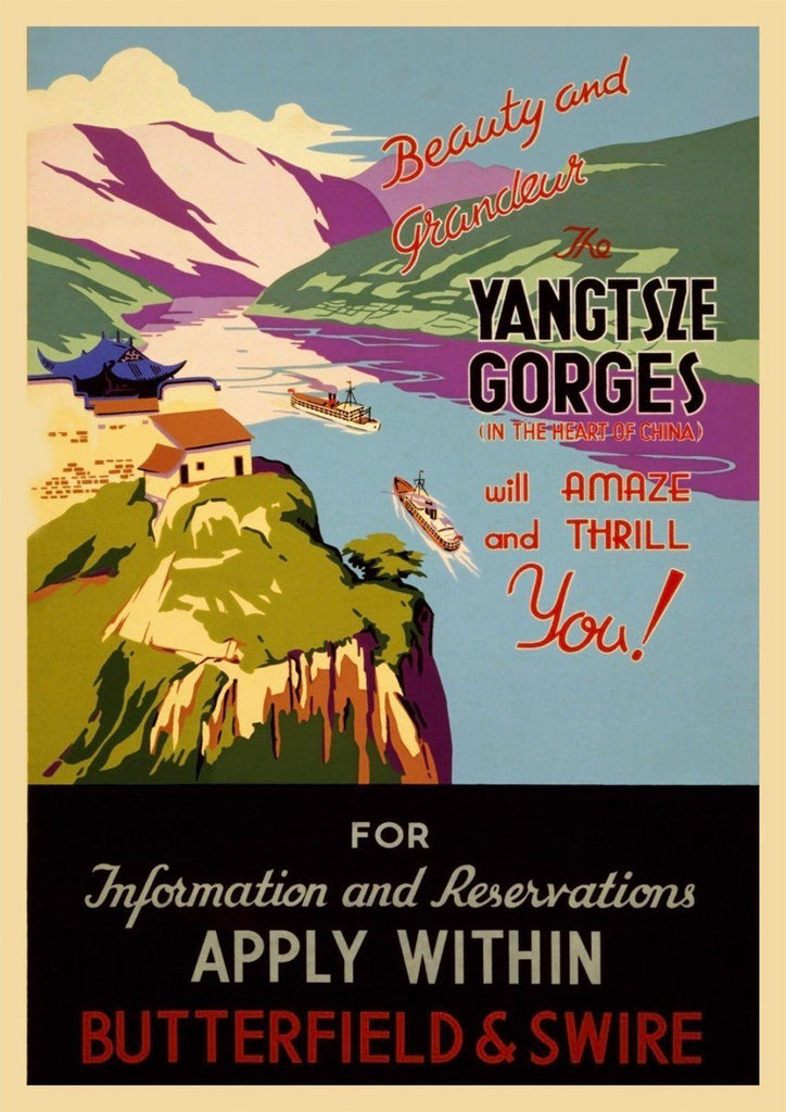 CHINA TRAVEL POSTER: Vintage Yangtse River Advert - The Print Arcade