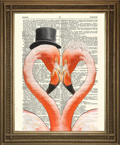 FLAMINGO HEART PRINT: Romantic Pink Bird Dictionary Art - The Print Arcade