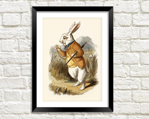 WHITE RABBIT PRINT: Alice in Wonderland Art - The Print Arcade