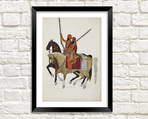 CAVALRY HORSE PRINT: Asian Art Illustration - The Print Arcade