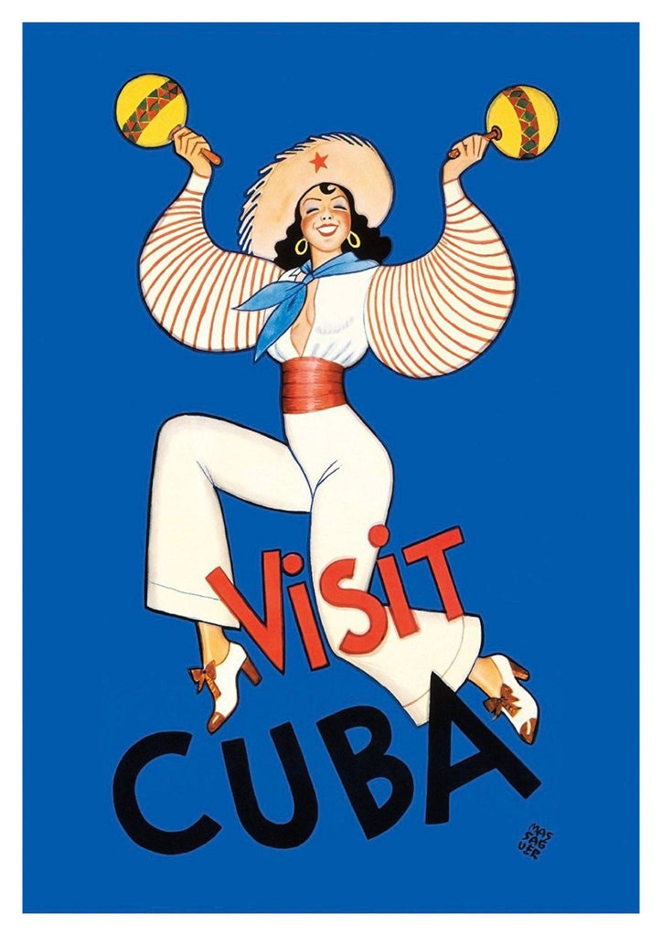 VISIT CUBA POSTER: Blue Dancing Girl Print - The Print Arcade