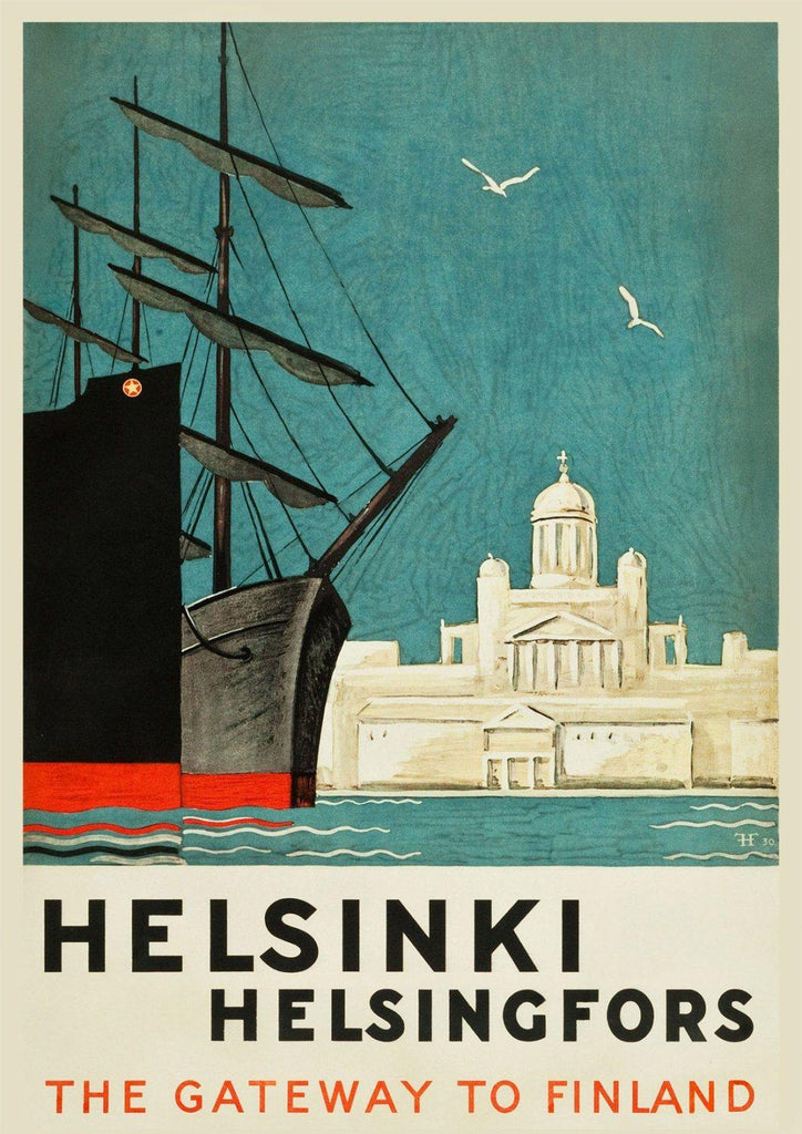 HELSINKI TRAVEL POSTER: Vintage Finland Travel Advert - The Print Arcade