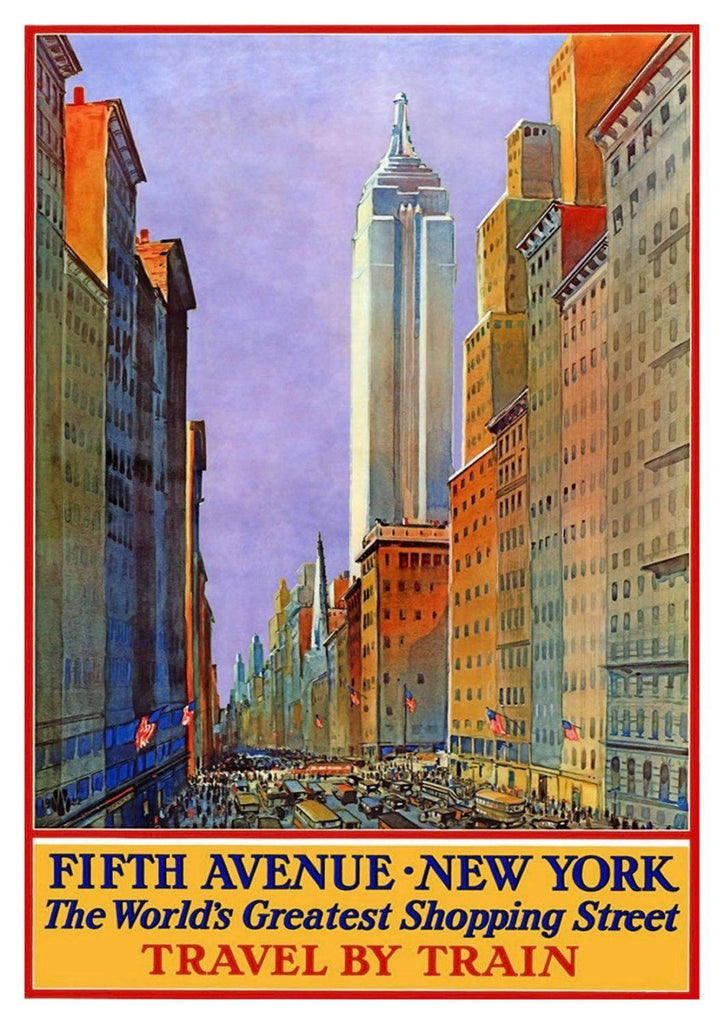 FIFTH AVENUE POSTER: Vintage New York Shopping Print - The Print Arcade
