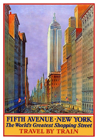 FIFTH AVENUE POSTER: Vintage New York Shopping Print